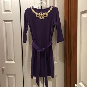 Lilly Pulitzer purple dress with gold detail